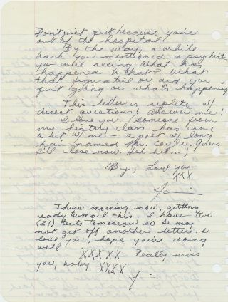 "Outstanding Autograph Letter Signed, illustrated with 5 sketches one of which Joplin describes as a self portrait, 6 pages on three sheets of notebook paper pulled from a spiral notebook, October 20, 1965, ""Wed. A. M."" With transmittal envelope in her hand.."