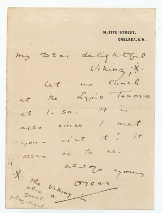 Autograph Letter Signed, on printed address stationery, 8vo, 16, Tite Street, Chelsea, S. W.,n.d. but between 1885-95.