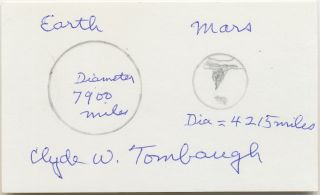 Earth and Mars Drawing Signed on 3 x 5 card. CLYDE TOMBAUGH.