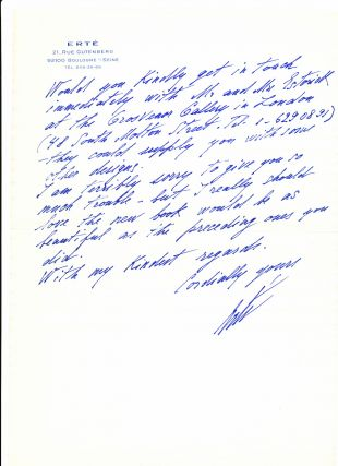 "Autograph Letter Signed, in English, 2 separate folio pp with a 3 separate page folio addendum, all on printed ""Erte"" stationery, Paris, France, May, 7 1979 with signed transmittal envelope."