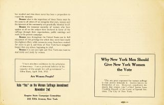Broadside, 2 pp on one sheet to be folded into four sided booklet, Empire State Campaign Committee. WOMAN'S SUFFRAGE BROADSIDE: Why New York Men Should Give New York Women the Vote.