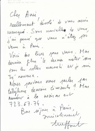 Autograph letter signed, in French, folio, n.p., n.d but 1980.