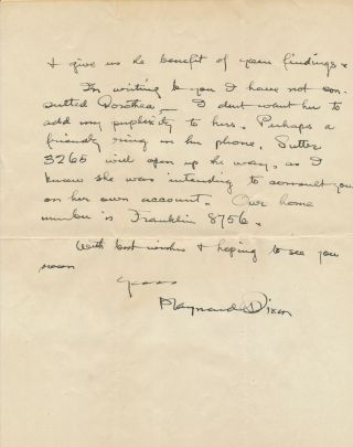 Scarce Autograph Letter Signed, 3 separate 4to pp, Montgomery St., Sept. 5 (1922?)