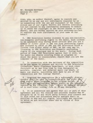 """Have Gun Will Travel."" Outstanding group consisting of an Autograph Letter Signed, on personalized printed stationery, 4to, North Hollywood, Aug. 15 n.y. but most likely 1958; Typed Document (Contract) Signed for ""Have Gun Will Travel"" theme music; with ""Wire Paladin"" Calling Card."