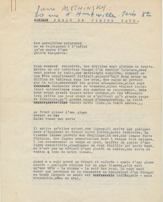"""Typed Letter Signed on """"COBRA"""" stationery with Typed Document Signed, """"Perdu en pleine pate (LOST IN PAINT)."""" TLS, on letterhead stationery of the COBRA group, in French, 8vo, Brussels, Nov. 13, 1950. TDS, in French, 4 separate 4to pages, Paris, Jan. 27, 1954."""