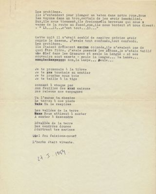 "Typed Letter Signed on ""COBRA"" stationery with Typed Document Signed, ""Perdu en pleine pate (LOST IN PAINT)."" TLS, on letterhead stationery of the COBRA group, in French, 8vo, Brussels, Nov. 13, 1950. TDS, in French, 4 separate 4to pages, Paris, Jan. 27, 1954."