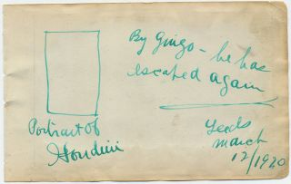 Scarce Autograph Note Illustrated, Signed, post card size, Leeds, March 12, 1920.