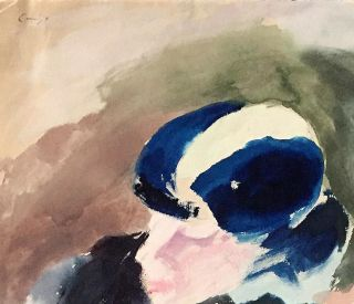"Appealing, Bright Water Color Signed, ""Figure in Blue Hat,"" attached to blue mat printed with the..."