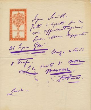 Autograph Letter Signed on the emblematic stationery of her dramatic company, in Italian, 1...
