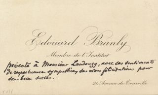 Autograph Note on Visiting Card, in French. EDOUARD BRANLY.