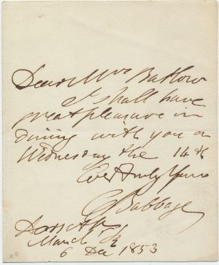 Autograph Letter Signed, 12mo, Dec. 6, 1853. CHARLES BABBAGE.