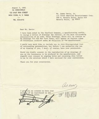 Archive of 16 Typed Letters , requests for publication permissions, on personal address stationery, most signed by both Hirschfeld and recipient, some copies of original signed by recipient only, mostly to theater and film stars. Inquire for additional images.