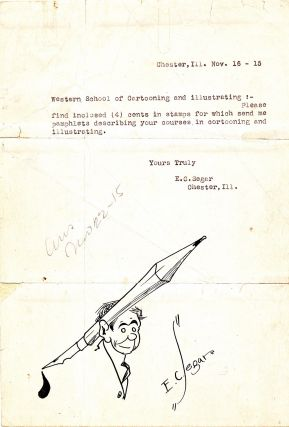 Rare and Early Original Sketch Signed in a Typed Letter Signed, 4to, Chester, Ill., Nov. 16,...