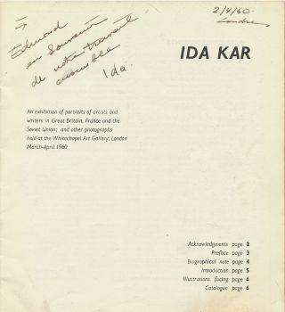 """Ida Kar Exhibition Catalog Signed and Inscribed. """"An Exhibition of portraits of artists and writers in Great Britain, France and the Soviet Union; and other photographs held at the Whitechapel Art Gallery, London March-April 1960."""""""