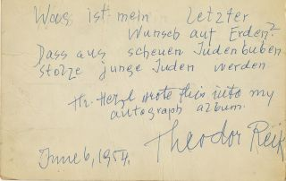 Autograph Quotation and Note Signed, in German and English, 8vo, n.p., June 6, 1954. THEODOR REIK