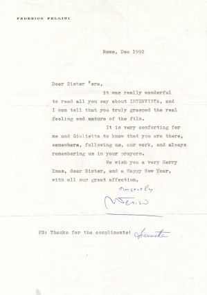 Typed Letter Signed on personalized printed stationery, slight 4to, Rome, Dec. 1992. FEDERICO...