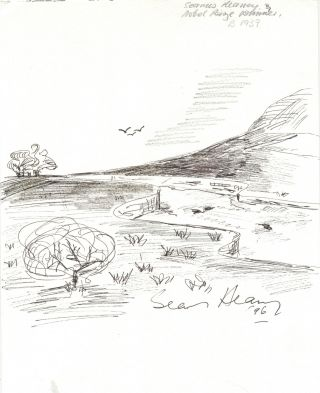 Original pen and ink drawing signed and dated, measuring 8.25 by 11 inches, on card stock weight artist's paper,