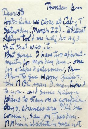 "Substantial Autograph Letter Signed, 5 separate 4to pages written to ""Mrs. Kenneth Patchen"" on..."