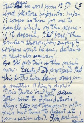"Substantial Autograph Letter Signed, 5 separate 4to pages written to ""Mrs. Kenneth Patchen"" on accompanying envelope, postmarked, March 20, 1958."