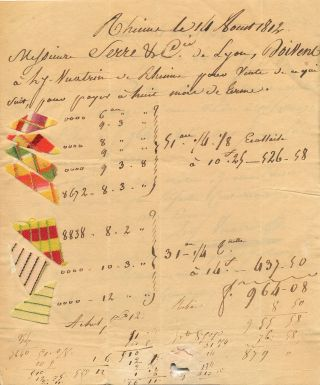Seven bright triangular patches of patterned cloth are attached to a Document, in French, written on pages 1 & 3 of 4to bifold sheet, Rheims, Aug. 16, 1812. CLOTH SAMPLES.