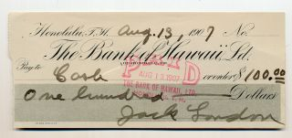 Printed and Autograph Document Signed, oblong 8vo, Honolulu, Hawaii, August 13, 1907. JACK LONDON