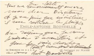 Appealing Drawing Signed, water color sketch, with annotation illustrated with a triangle on verso, on a heavy stock paper measuring 4 x 6 inches. With Autograph Note Signed, in French, on Carte-de-visite, 12mo, with envelope.