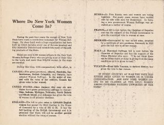 "Broadside, ""Suffrage as a War Measure"" by NY State Woman Suffrage Party, 2 pp on one 8 x 10.5 inch sheet."