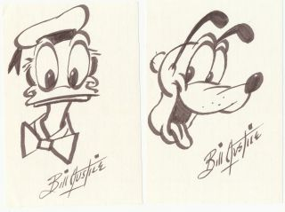 Two Original Signed Sketches, one of Donald Duck and one of Goofy, each on verso of 4 x 6 index...