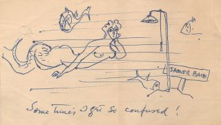 """Sometimes I Get So Confused!"" says the mermaid in Walt Kuhn's humorous sketch rendered in pen..."