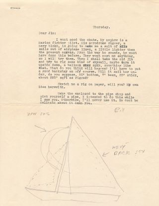 Rare and fine Pencil Sketch of a sail boat in a typed letter to Eric James Devine, likely 1948, [Oxford, Mississippi]