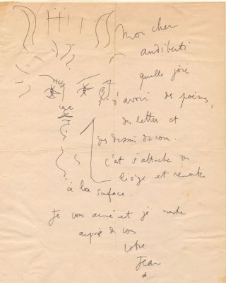 Captivating pen and ink line drawing of Orpheus with a lyre at his forehead within an Autograph Letter Signed to French playwright Jacques Audiberti (1899 -1965).