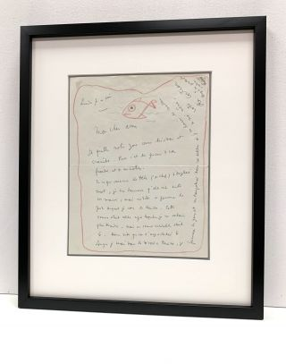 Intriguing drawing signed of a fish swimming within the red border of a letter. Cocteau writes...