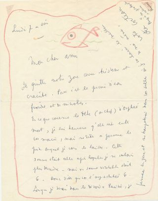 "Intriguing drawing signed of a fish swimming within the red border of a letter. Cocteau writes about the price of a drawing ""concerning the head of dead Orpheus."" and alludes to his photographs of Arthur Rimbaud."