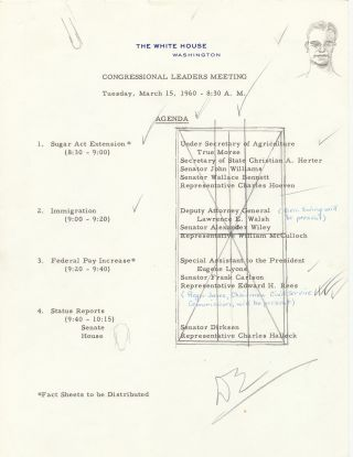 """Self Portrait Sketch Signed in pencil doodled on """"White House"""" Agenda for """"Congressional Leaders Meeting"""", signed with initials, """"DE."""" Washington, Tuesday, March 15, 1960."""