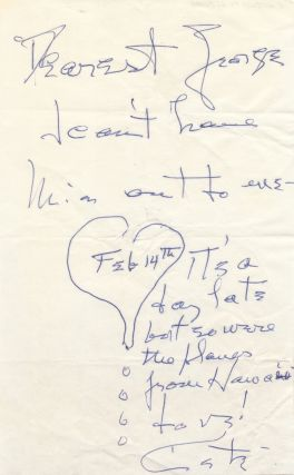 Illustrated Autograph Letter Signed to film director George Cukor, undated.