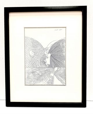 Original drawing signed and dated, 1996, rendered in pen and ink on white artists' board,...