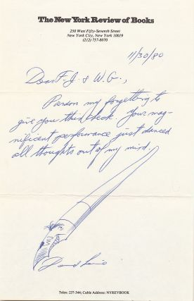 "Sketch of his classic fountain pen with a face for the nib at the end of a hand written letter on ""New York Review of Books"" stationery."