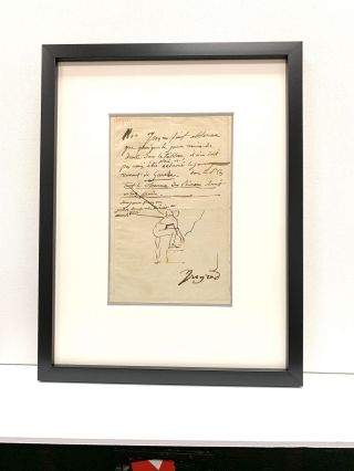 """Rare sketch within an important Autograph Letter Signed, in French, undated. With pen and ink, Ingres illustrates how window light would shine on a figure. """"...although the daylight comes from the right side of the painting, the daylight coming from the left side should not be dismissed. If this is the case, all the charm of the brush work will be lost...."""" He sketches a figure from the back with one foot on a step. In a strong hand, he signs, """"Ingres."""""""