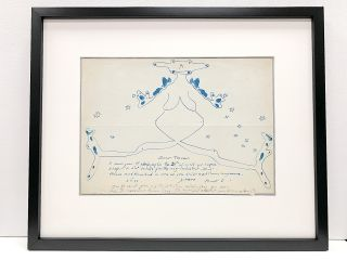 Rare and fine sketch in blue pen and ink under which she wrote an Autograph Letter Signed, 4to,...