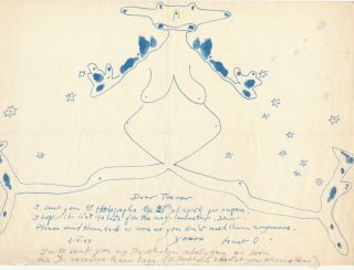 Rare and fine sketch in blue pen and ink under which she wrote an Autograph Letter Signed, 4to, n.p., May 2,1967.