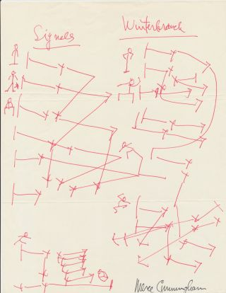 "A prolific sketcher, Cunningham draws dance layouts for two of his dances, ""Signals"" and..."