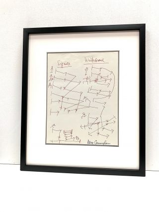 """A prolific sketcher, Cunningham draws dance layouts for two of his dances, """"Signals"""" and """"Winterbranch"""" in red pen, signed in full in black ink, possibly at a later date. """"Winterbranch"""" debuted in 1964 and """"Signals"""" in 1970."""