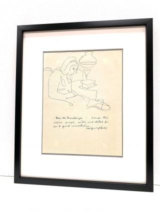 Line drawing rendered in pen and ink above a brief Autograph Letter Signed, 4to, April 10, 1964...
