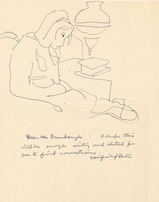 Line drawing rendered in pen and ink above a brief Autograph Letter Signed, 4to, April 10, 1964 docketed on verso.