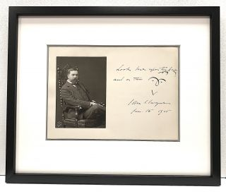 Illustrated Autograph Note Signed in the style of a rebus with studio photograph attached,...