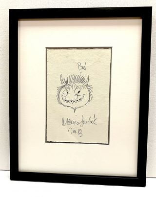"""Where the Wild Things Are."" Original pen and ink sketch of a Wild Thing signed in full dated..."