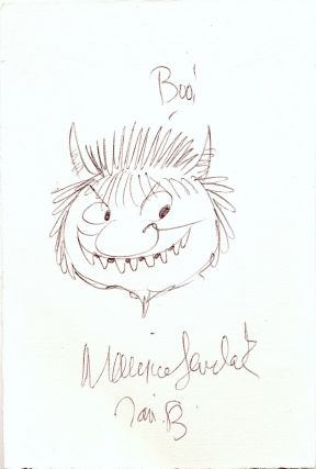 """Where the Wild Things Are."" Original pen and ink sketch of a Wild Thing signed in full dated ""Jan '8.3"""