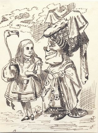 """Rare original pen and ink drawing, """"Alice (with flamingo) Chats with the Duchess."""" from Lewis Carroll's """"Alice's Adventures in Wonderland,"""" (1865) signed with initials and date , """"JT 1880."""" With Autograph Letter Signed two pages on one sheet, to the editor of """"Punch"""" magazine, Aug. 25, 1854."""