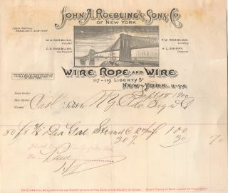 """John A. Roebling's Sons Co. Wire Rope and Wire"" Brooklyn Bridge Letterhead, Paid Purchase..."
