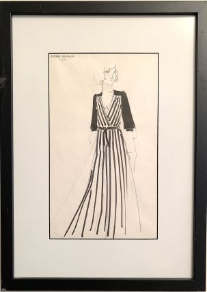 A pair of hand drawn fashion sketches on Balmain stationery, water color and ink. PIERRE BALMAIN